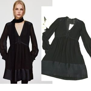 Zara Midi Semi Shear Black Dress Long Sleeve S